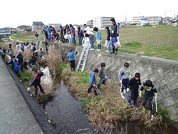 かやっこまちづくりプロジェクト「鍋田川清掃」が行われました