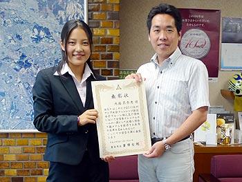 目指せロンドン!フェンシングの池端花奈恵選手に市長表彰