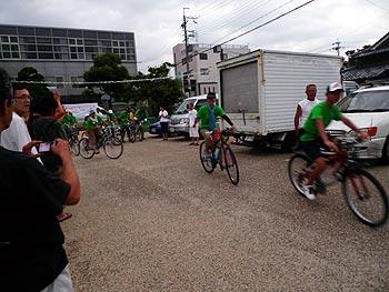 箕面から広島へ…ピースサイクリング2011、旅立ちの朝