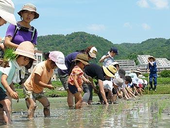 田植え体験で、大人も子どもも泥んこ!