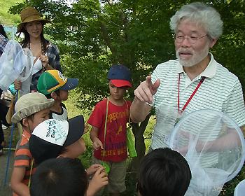 いま、瀧道で鳴いてます!箕面公園昆虫館くるびー館長とキリギリス採集