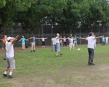 公園でラジオ体操!