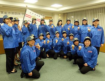 学生消防隊「MATOY」、第1号は大阪青山大学女子ソフトボール部員!